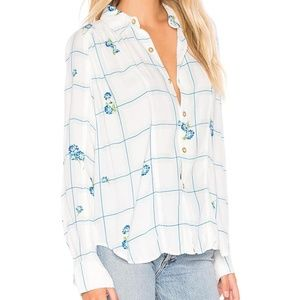 Free People Window To My Heart Button Down Shirt.